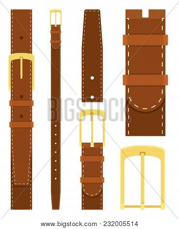 Brown Leather Belt With Gold Buckle Isolated On White Background. Element Of Clothing Design. Belt T