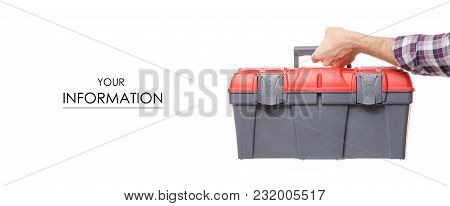 Box With Construction Tools In Hand Pattern On A White Background Isolation
