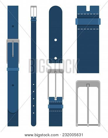 Blue Belt With Buckle Isolated On White Background. Element Of Clothing Design. Belt Trouser In Flat