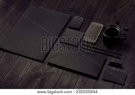 Dark Deluxe Black Branding Stationery, Mockup Scene With Phone, Coffee On Black Wooden Plank, Blank