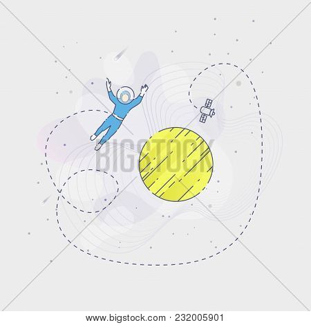 Vector Illustration Of An Astronaut Flying Over Planet In An Outer Space On Grey Background.