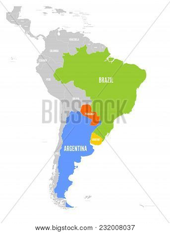 Map Of Mercosur Countires. South American Trade Association. Highlighted Member States Brazil, Parag