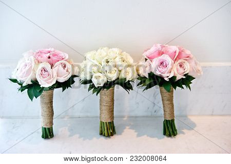 Pink Roses And White Cream Roses Wedding Bouquet Of The Bride And Bridesmaids