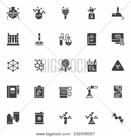 Chemistry Vector Icons Set, Modern Solid Symbol Collection, Filled Style Pictogram Pack. Signs, Logo