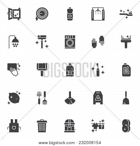 Cleaning Service Vector Icons Set, Modern Solid Symbol Collection, Filled Style Pictogram Pack. Sign