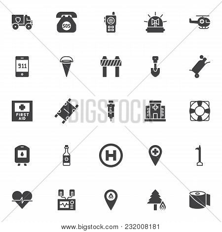 Emergency Vector Icons Set, Modern Solid Symbol Collection, Filled Style Pictogram Pack. Signs, Logo