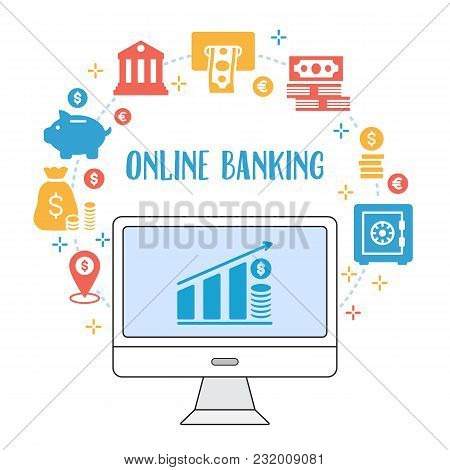Sending And Receiving Money Illustration. Flat Line Design Style Concept For E-commerce, M-commerce,