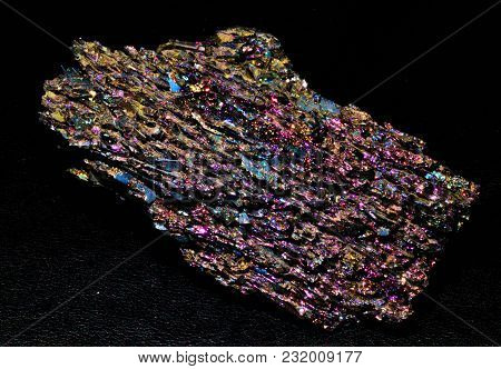 Silicon Carbide Mineral Stone Shiny Colored Black Background