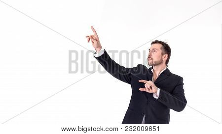 Businessman Touching On A Virtual Whiteboard. Isolated On White