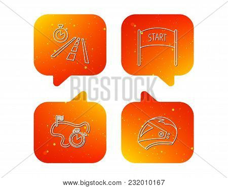 Motorcycle Helmet, Race Timer And Travel Time Icons. Start Race Linear Sign. Orange Speech Bubbles W