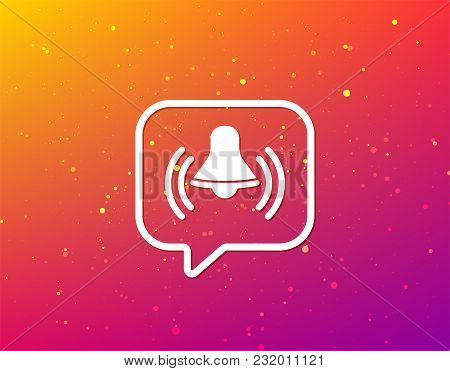 Bell Icon. Reminder Alarm Signal Symbol. Soft Color Gradient Background. Speech Bubble With Flat Ico
