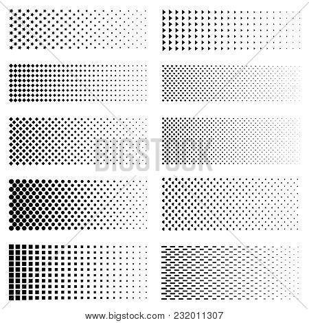 Dotted Gradient Set. Vector Fading Circle Dots Textures And Black Halftone Moire Patterns On White
