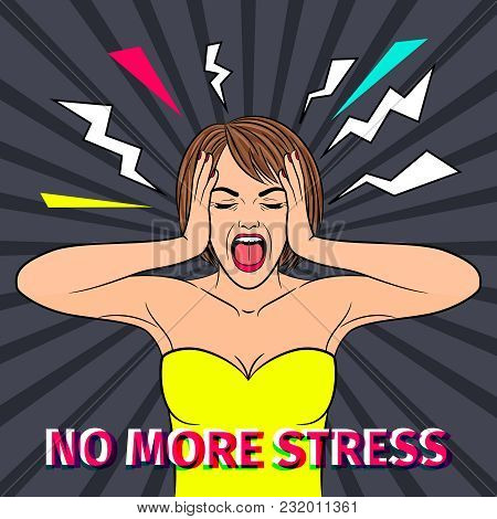 No Stress. Shocked And Scared Retro Woman Face With No More Stress Text, Vintage Screaming Girl Vect