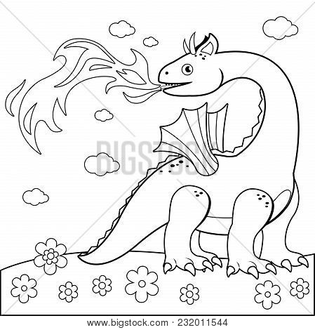 Fire Breathing Dragon. Black And White Coloring Book Page