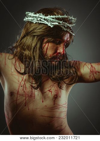 Savior, representation of the Calvary of Jesus Christ on the cross. Holy Week in Spain. man with crown of thorns