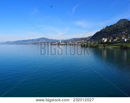 Panorama Of Swiss Promenade, Alpine Riviera And Lake Geneva Landscape In Montreux City In Switzerlan