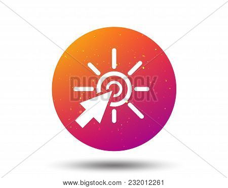 Click Icon. Computer Mouse Cursor Symbol. Circle Button With Soft Color Gradient Background. Vector