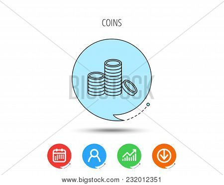 Coins Icon. Cash Money Sign. Bank Finance Symbol. Calendar, User And Business Chart, Download Arrow
