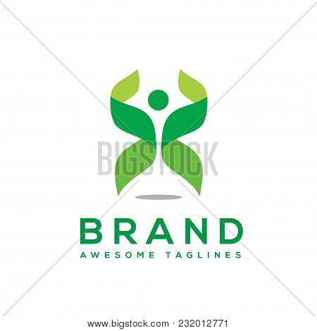Green Leaf Ecology And Fitness Health Vector, Abstract People Health Logo And Abstract Organic Leaf