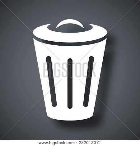 Vector Trash Can Icon On Dark Gray Background With Shadow