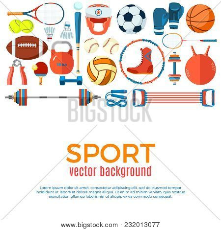 Banner Of Sport Balls And Gaming Equipment. Poster With Text Sport For Banner, Sticker, Web. Healthy