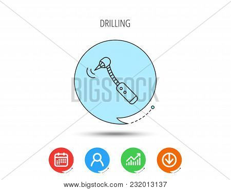Drilling Tool Icon. Dental Oral Bur Sign. Calendar, User And Business Chart, Download Arrow Icons. S