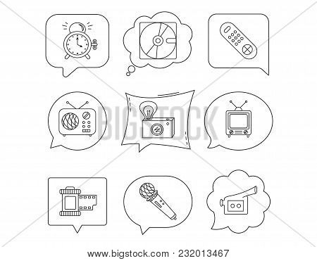 Microphone, Video Camera And Photo Icons. Alarm Clock, Retro Radio And Tv Remote Linear Signs. Linea