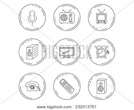 Tv Remote, Retro Phone And Radio Icons. Pc Case, Microphone And Alarm Clock Linear Signs. Linear Cir