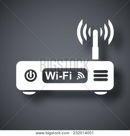Vector Wireless Router Icon On Dark Gray Background With Shadow
