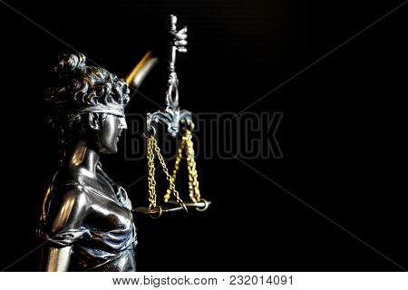 Lady Of Justice Or Themis (symbol Of Justice) And Copy Space