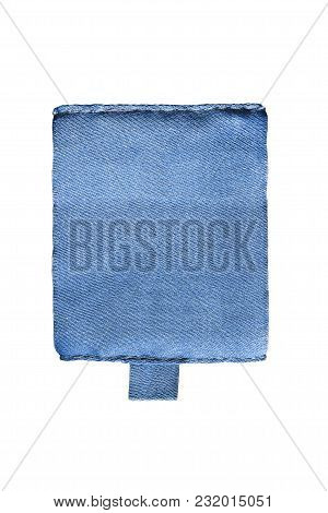 Blank Blue Textile Clothes Label On White Background