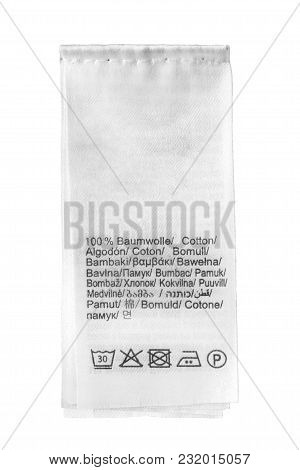 Composition And Care Textile Clothes Label On White Background