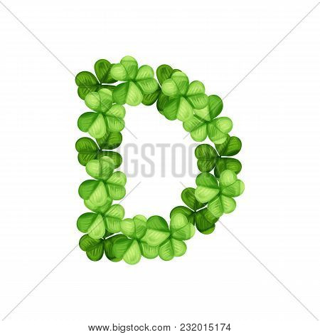 Letter D Clover Ornament Isolated On White Background