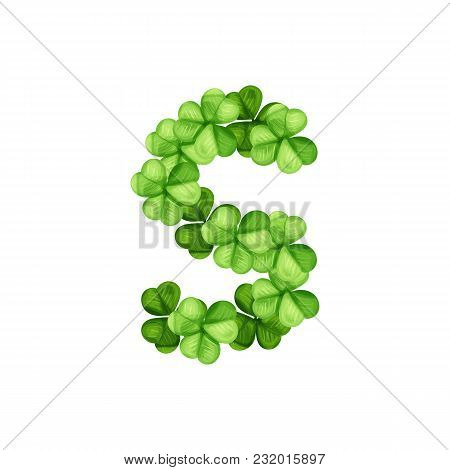 Letter S Clover Ornament Isolated On White Background