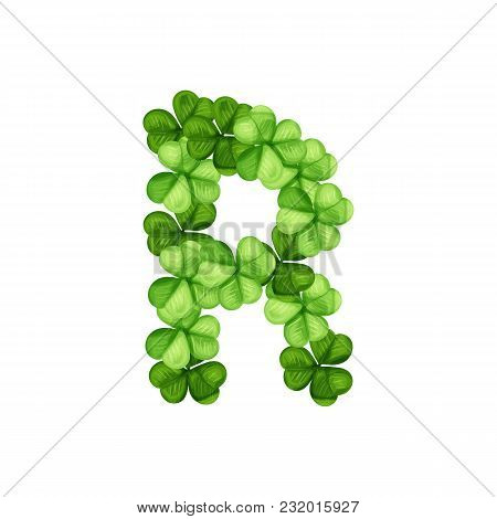 Letter R Clover Ornament Isolated On White Background