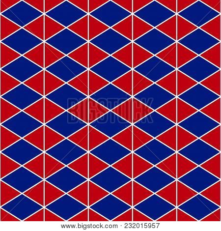Red Navy Blue Triangle Seamless Background. Vector Illustration.