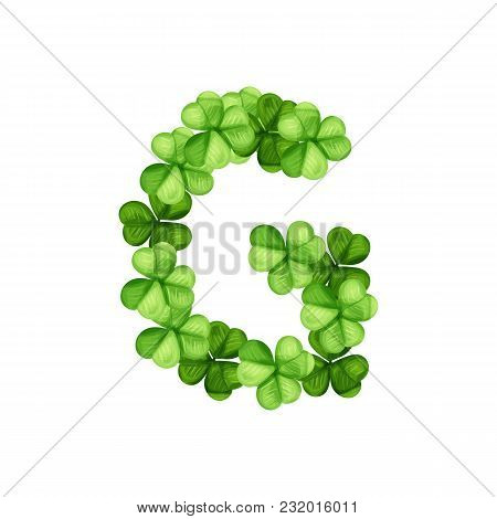 Letter G Clover Ornament Isolated On White Background