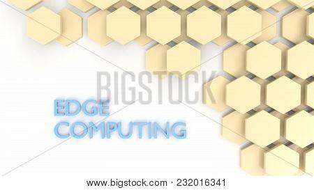 Edge Computing Concept Yellow Hexagon Tiles On White 3d Illustration