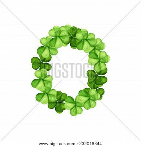 Letter O Clover Ornament Isolated On White Background