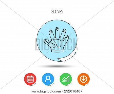 Construction Gloves Icon. Textile Hand Protection Sign. Housework Cleaning Equipment Symbol. Calenda