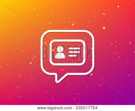 Id Card Icon. Personal Identification Document Symbol. Soft Color Gradient Background. Speech Bubble