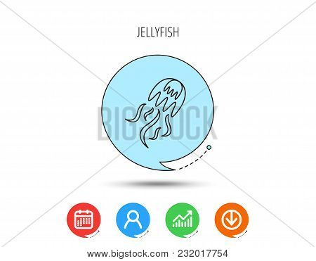 Jellyfish Icon. Marine Animal Sign. Calendar, User And Business Chart, Download Arrow Icons. Speech