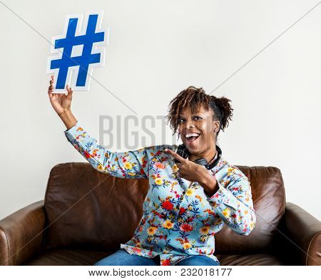 People with hashtag symbol icon
