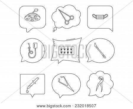 Medical Mask, Capsules And Dental Pliers Icons. Surgical Lamp, Scalpel And Drop Counter Linear Signs