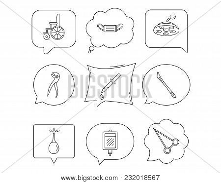 Medical Mask, Scalpel And Dental Pliers Icons. Pipette, Surgical Lamp And Wheelchair Linear Signs. B