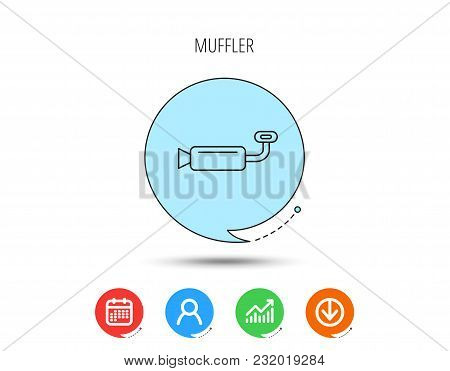Muffer Icon. Car Fuel Pipe Or Exhaust Sign. Calendar, User And Business Chart, Download Arrow Icons.