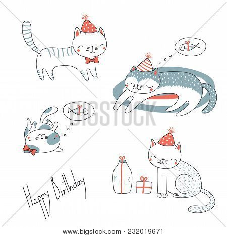 Collection Of Hand Drawn Cute Funny Cartoon Cats In Party Hats, With Presents, Typography. Isolated