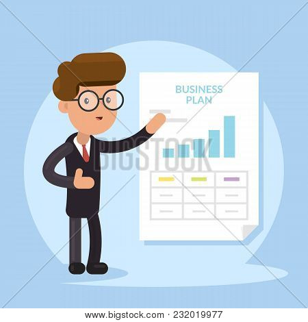 Businessman And Business Plan Document. Presentation Concept, Seminar, Training, Conference. Busines