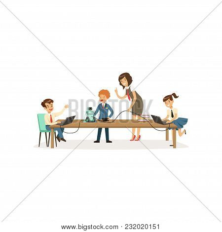 Pupils Studying Programming And Robotics, Informatics Lesson At School Vector Illustration Isolated