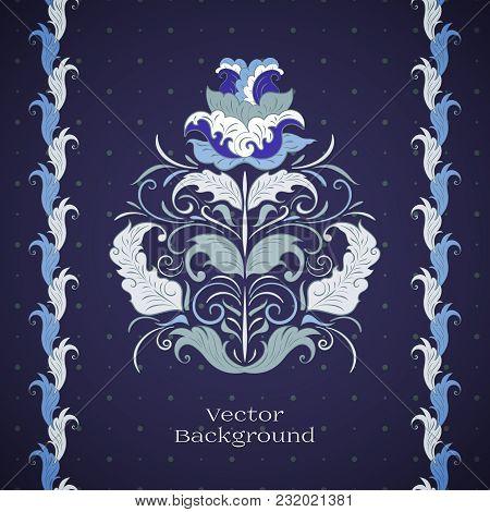 Vector Floral Design Element. Dark Blue Background. Ethnic Motifs